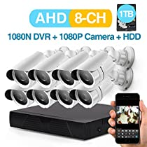 Zgwang 8-Channel AHD1080N/1080P Video Security System with 1TB Hard Drive and (8) 1080P Indoor/Outdoor Weatherproof Bullet Cameras, Motion Alert, Smartphone& PC Easy Remote Access