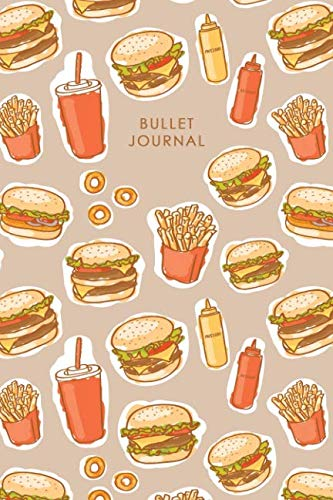 Bullet Journal: Travel Journal / Notebook, Food Diary - 6 x 9 Dot Grid Paper for Bullet Journaling, 150 Pages (Burger) (Food Journal) by Miss Gotcha!