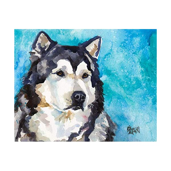 "Alaskan Malamute Art Print | Malamute Gifts | From Original Painting by Ron Krajewski | Hand Signed Artwork in 8x10"" and 11x14"" Sizes 1"