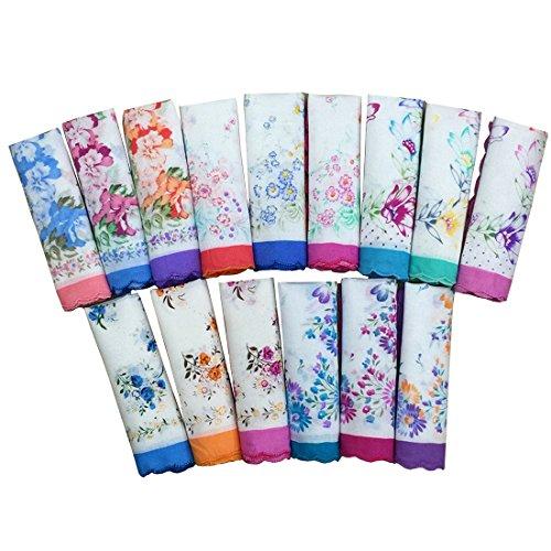 BoosKey Ladies Cotton Cloth Hankies Handkerchiefs Vintage with Floral Print in Bulk Wedding Favors (24pcs)