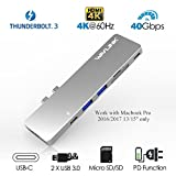 USB-C Docking Stations,Wavlink Thunderbolt 3 Pass-Through Charging PD Hub Adapter,Type C Aluminum Hub for Macbook Pro 2016/2017 with 4K HDMI, SD/Micro SD Card Reader,USB3.0 (Silver)