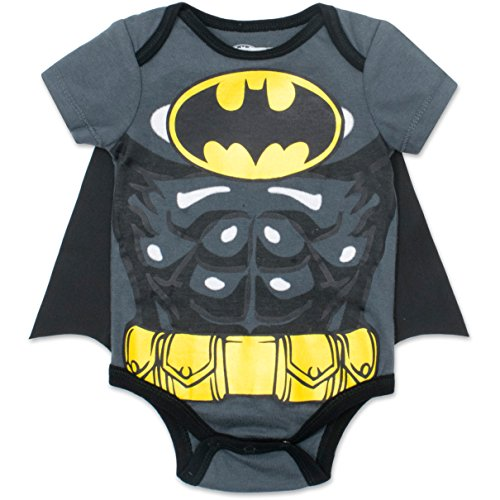 Batman Newborn/ Infant Baby Boys' Bodysuit with Cape Grey (12 (Batman Costume Baby)