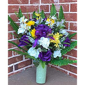 Starbouquets Cemetery vase Flowers - Beautiful Mum Open Rose, Rose, Gladiolus and Lily Mixture Cemetery Vase Flowers ~ for a 3 Inch Vase 65