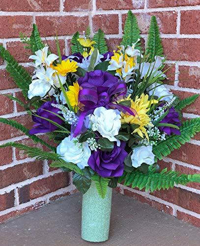 Beautiful Mum - Starbouquets Cemetery vase Flowers - Beautiful Mum Open Rose, Rose, Gladiolus and Lily Mixture Cemetery Vase Flowers ~ for a 3 Inch Vase