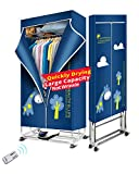 Kasydoff Portable Clothes Dryer 3-Tier Foldable Clothes Drying Rack Energy Saving (Anion) 1.7 meters Clothing Dryers Digital Automatic Timer with Remote Control for apartment (blue)