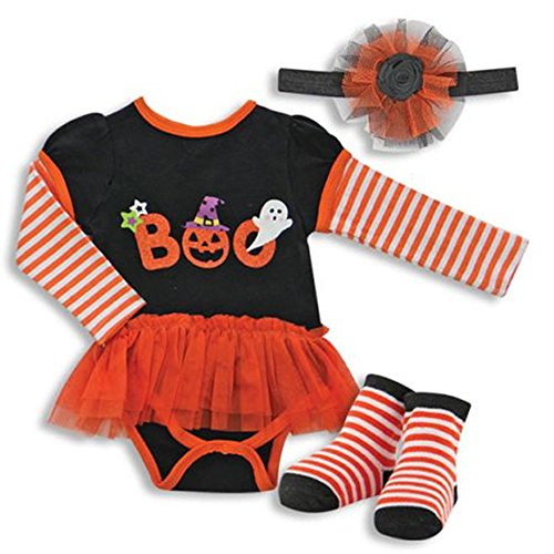 [Buster Brown Baby Girl Halloween Onesie Including Tutu, Headband and Socks (3-6 Months)] (Baby Ghost)