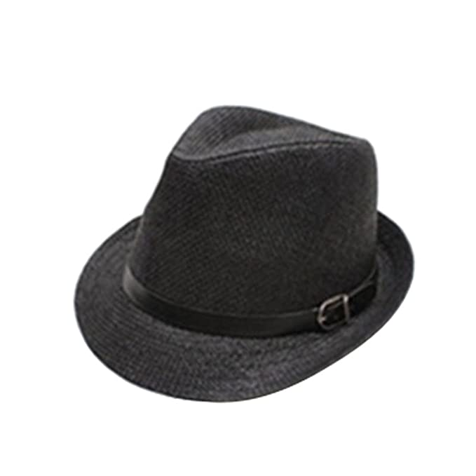 14f591460e564 Stylish Jazz Hat Summer Straw Sun Hat Cap Topee Fedora Trilby Panama Hat at  Amazon Women s Clothing store