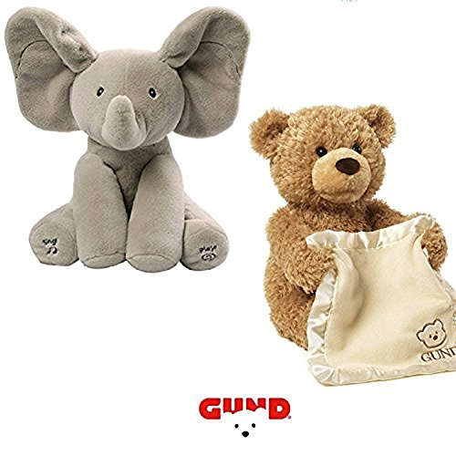 Gund Flappy the Elephant & Peek-A-Boo Bear Animated Plush Duo Bundle (Elephant/Bear)