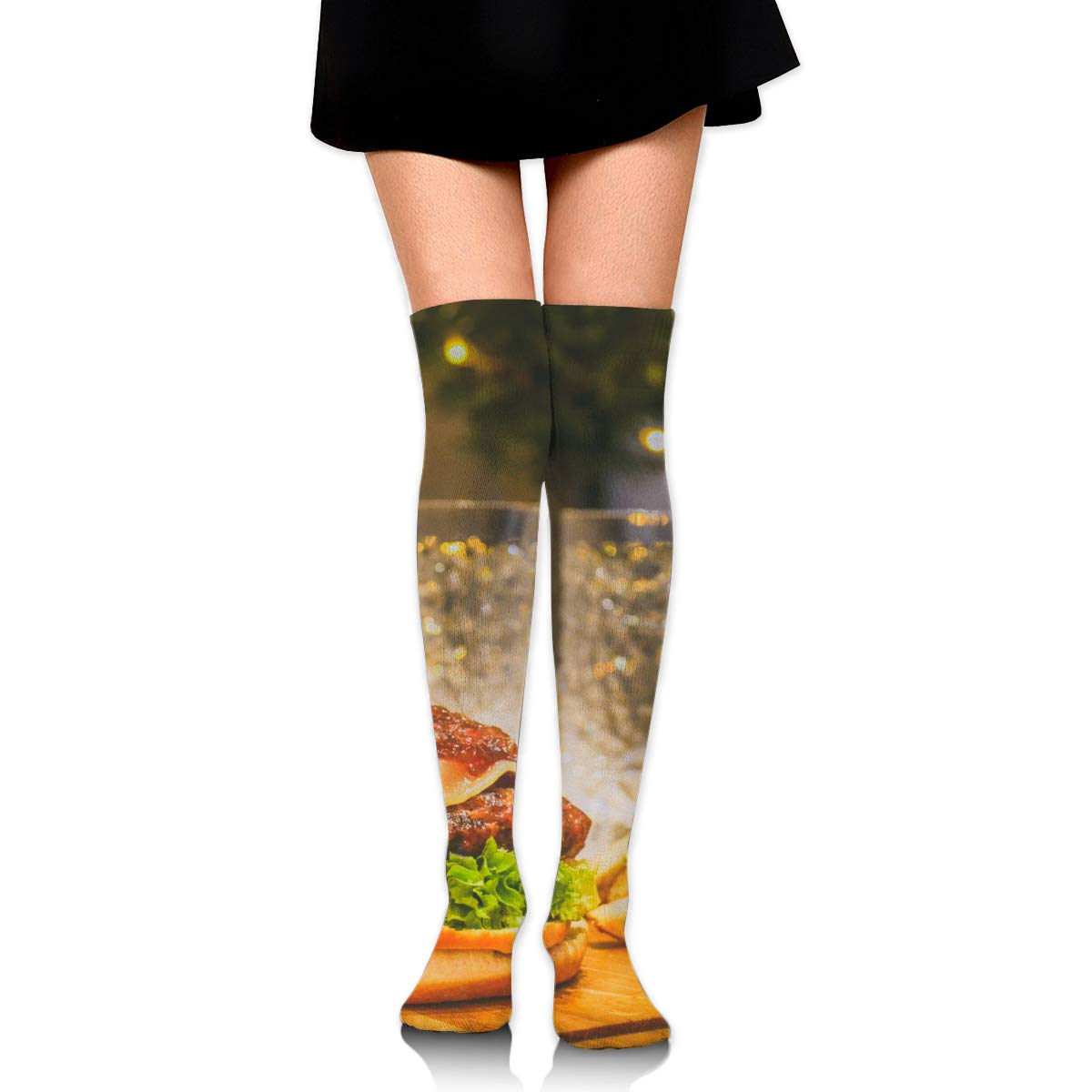 High Elasticity Girl Cotton Knee High Socks Uniform Cheeses Beef Hamburger And Fries Women Tube Socks