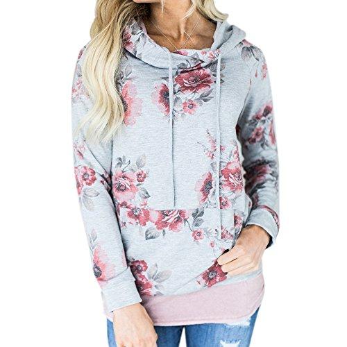 Gillberry Womens Floral Printing Loose Hoodie Sweatshirt Hooded Pullover Tops Blouse Shirt (M, (Boatneck Wool Sweater)