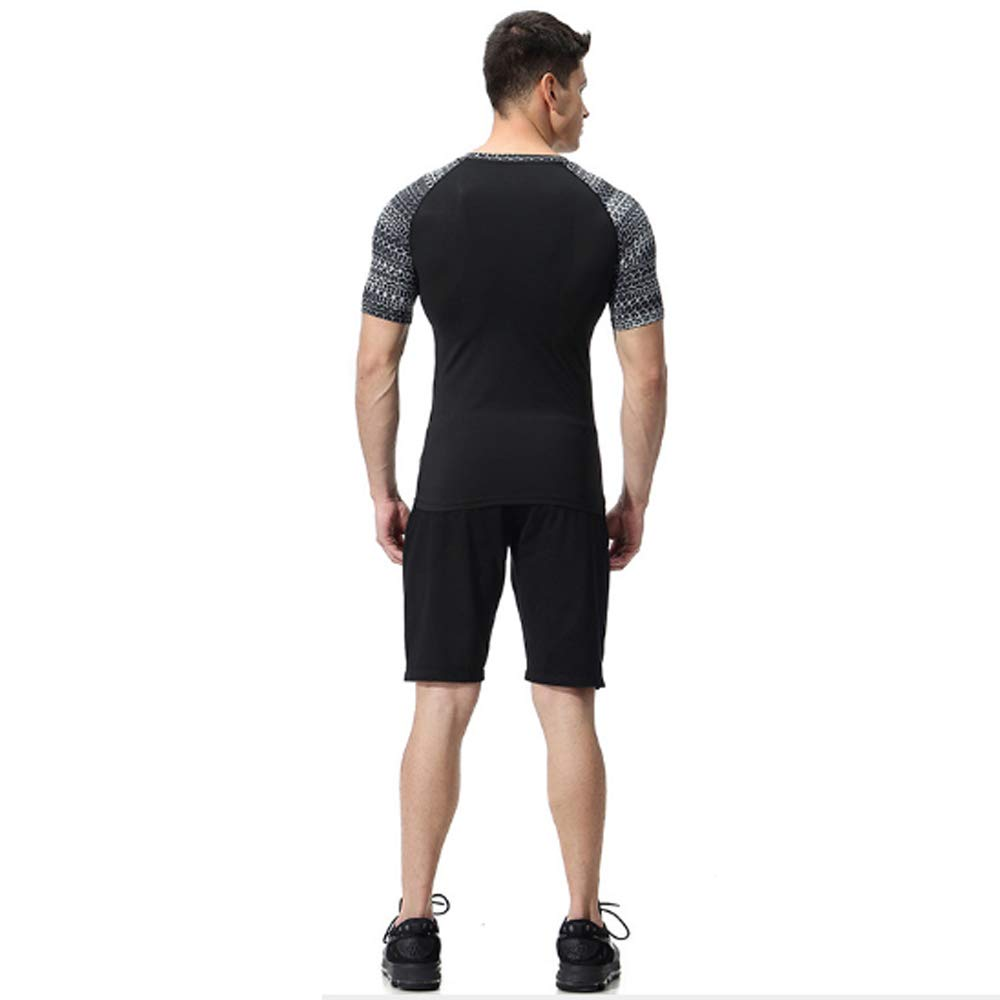 Amazon.com : QJKai Summer Leisure Sports Suit Mens Stretch Quick-Drying T-Shirt Training Running Fitness Suit : Garden & Outdoor