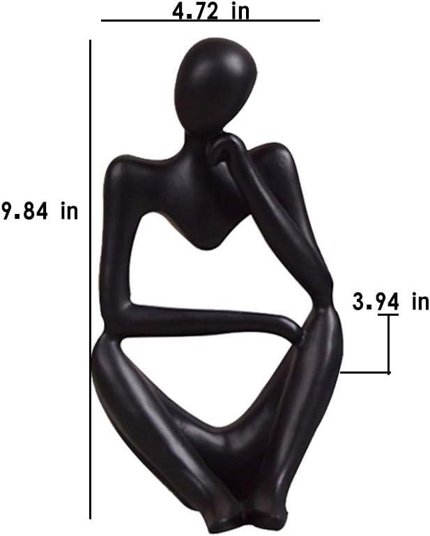 Ozzptuu Black Resin Thinker Style Abstract Sculpture Statue Collectible Figurines Home Office Bookshelf Desktop Decor Focus