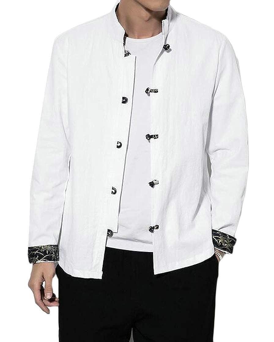 BU2H Men Linen Chinese Style Buttons Classic Mandarin Collar Shirts