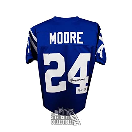 Lenny Moore HOF Autographed Signed Baltimore Colts Custom Blue  RKdRlywk