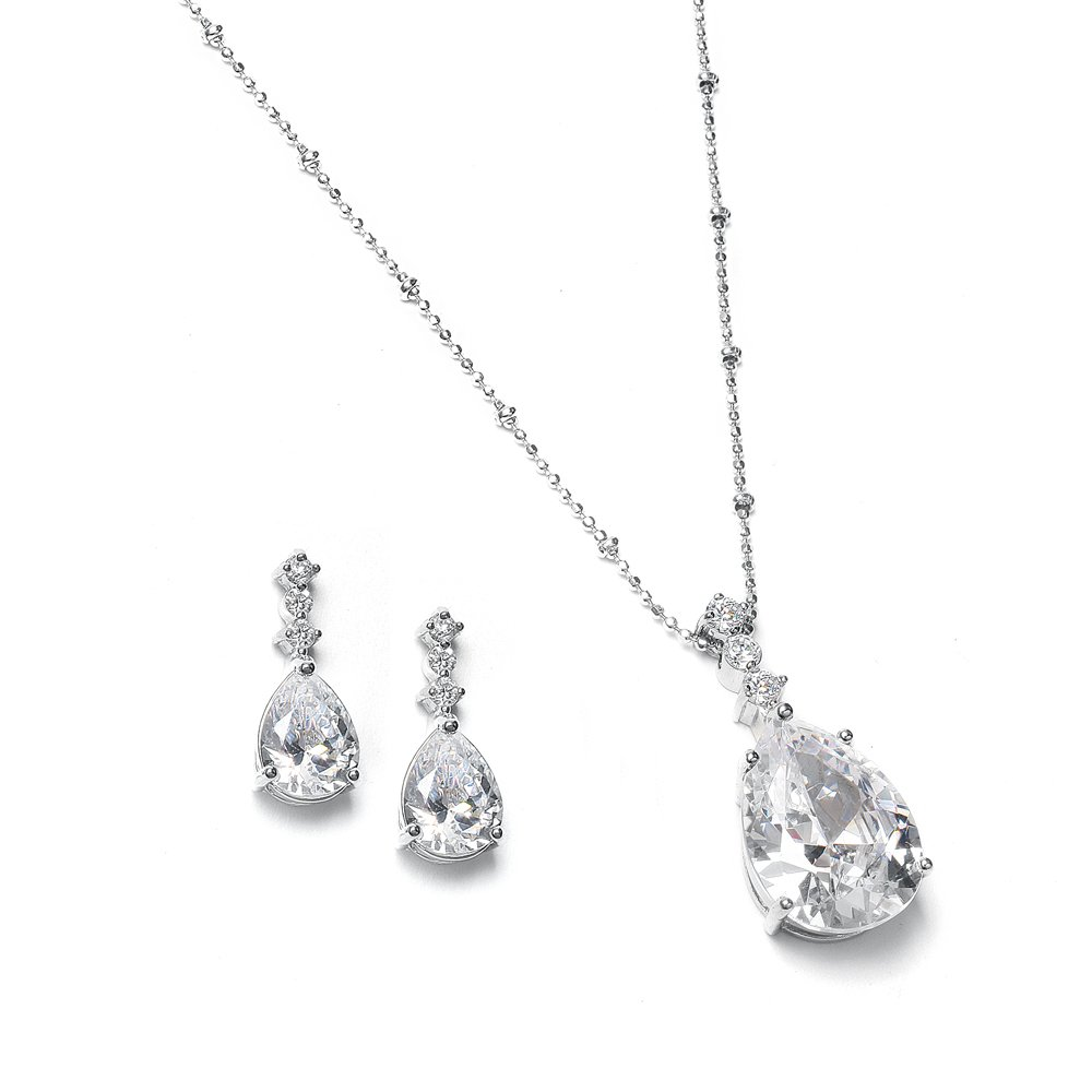 Mariell Vintage CZ Pear-Shaped Teardrop Necklace Earring Jewelry Set Bride, Prom & Bridesmaid