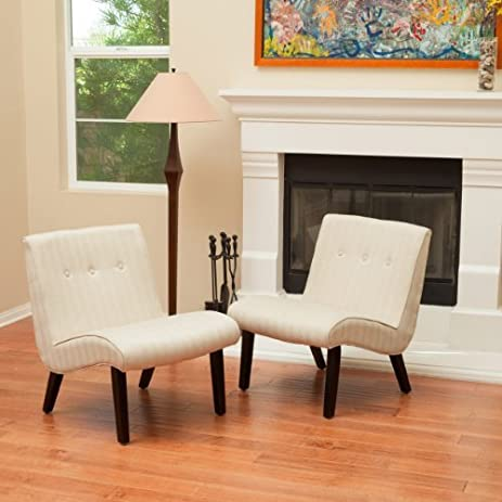 amazon com oksana oatmeal beige slipper chairs set of 2 kitchen