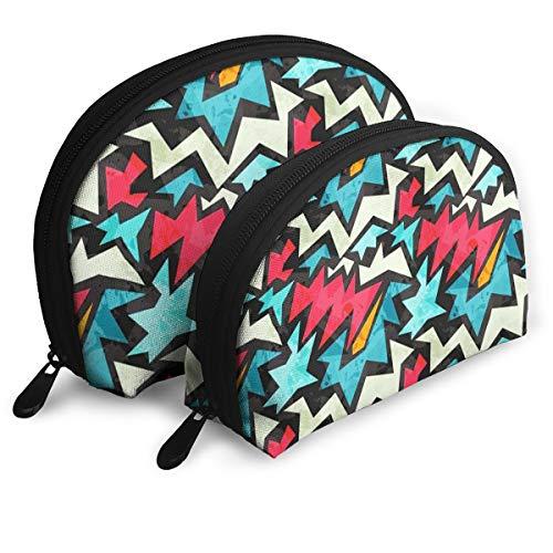 Halloween Portable Half Moon Makeup Storage Bag Travel Waterproof Toiletry Bag Cosmetic Bag 2 Pack -