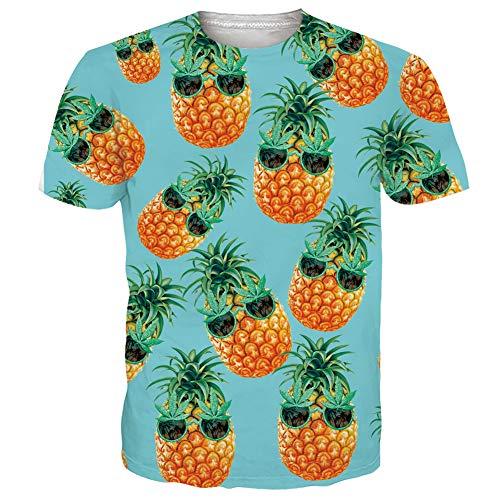 RAISEVERN Womens Mens Tshirts Lightweight Funny 3D Glasses Pineapple Short Sleeve Crew Neck Tropical Beach Summer Hawaiian Tee Blue ()