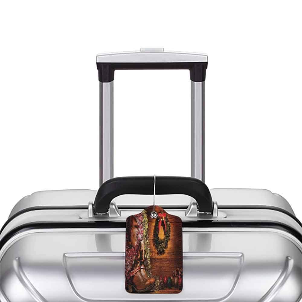 Modern luggage tag Western Decor Country Design with Cowboy Boots and Christmas Decorations in Vintage Cabin Lodge Suitable for children and adults Brown W2.7 x L4.6