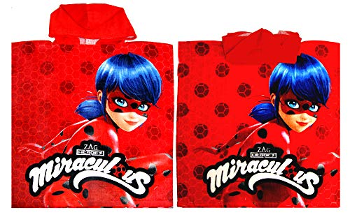 Miraculous Ladybug Bath Towel,Pool Poncho Towel,Officially Licensed