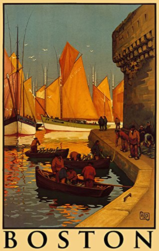 "Boston Harbor Sea Ocean Front Sailboat Boat Travel Tourism 10"" X 16"" Image Size Vintage Poster Reproduction"