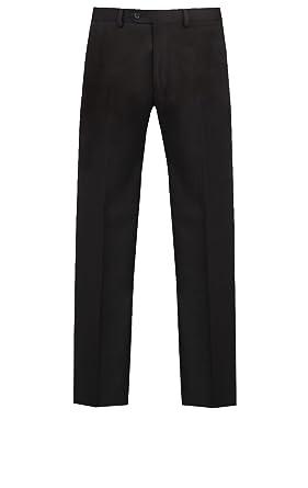 Droite Pantalon Dobell Costume Noir À Chevrons Homme Sans De Jambe yf76bg
