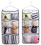 MISSLO Durable Hanging Closet Double Sided Bra Stocking Clothes Socks Organizer 15 Large Mesh Pockets, White