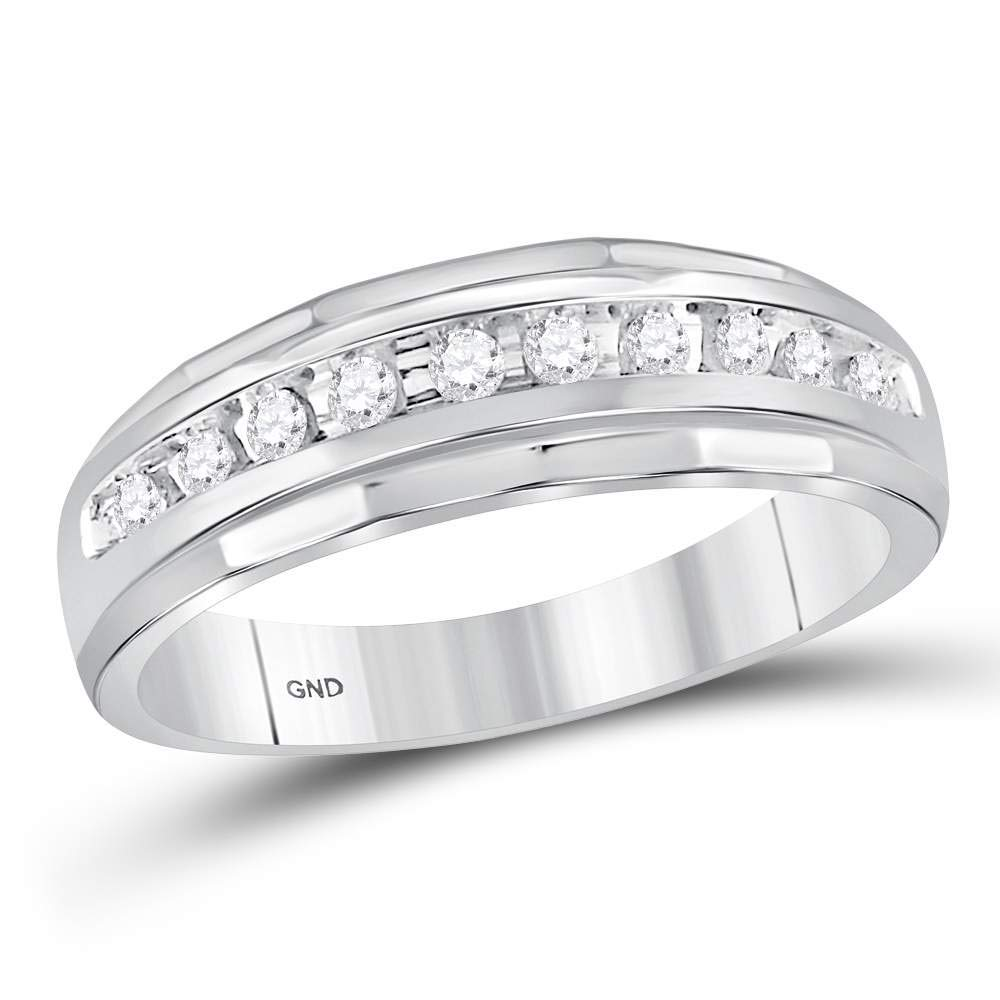 Jewels By Lux 10kt White Gold Mens Round Diamond Single Row Grooved Wedding Band Ring 1/4 Cttw Ring Size 11 by Jewels By Lux