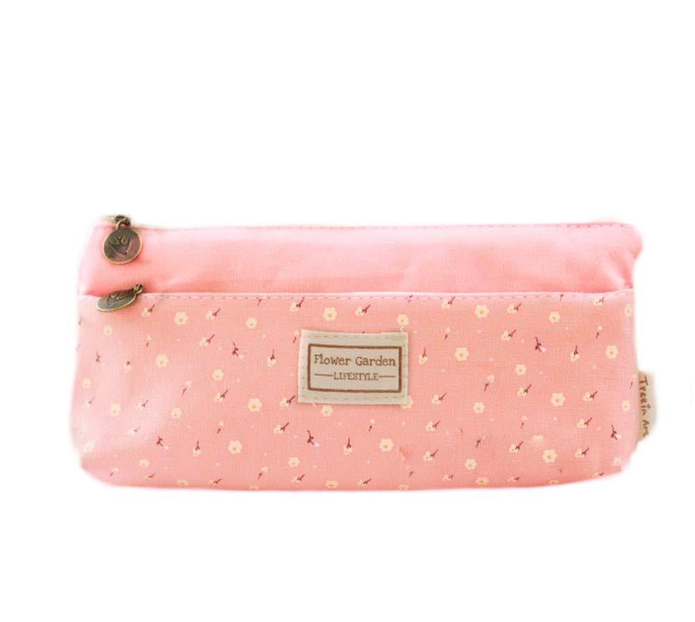 Cosanter matita bag custodia morbida microfibra Little Flower modello per occhiali da trucco per le ragazze (rosa)