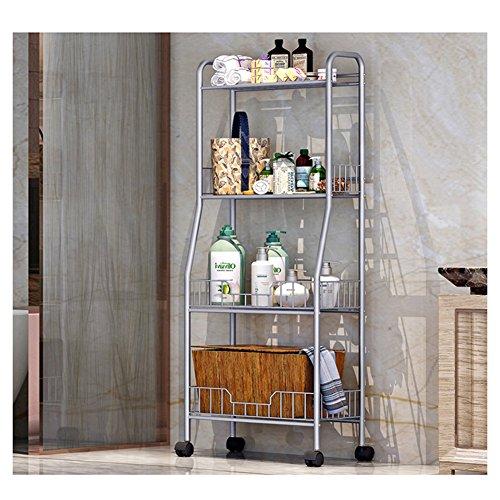 YAONIEO 4-Tiers Heavy Duty Kitchen Storage Bakers Organizer Rack Utility Shelves 18.89'' L x 13.78'' W x 47.6'' H Silver Grey by YAONIEO (Image #3)