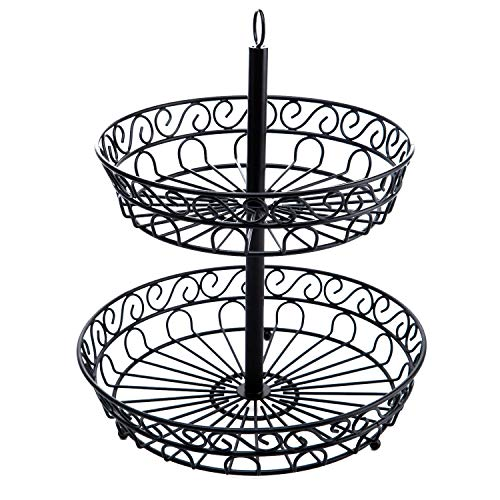 QILICHZ 2-Tier Decorative Heavy-Duty Iron Fruit Basket Stand,Modern Kitchen Counter-top Storage Rack for Exotic & Tropical Fruits, Bananas,Vegetables, Snacks, Household ()