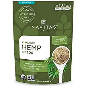 Navitas Organics Hemp Seeds, 8 oz. Bags (Pack of 2) — Organic, Non-GMO, Low Temp-Hulled, Gluten-Free