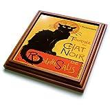 3dRose trv_24933_1 Cats Le Chat Noir Trivet with Ceramic Tile, 8 by 8