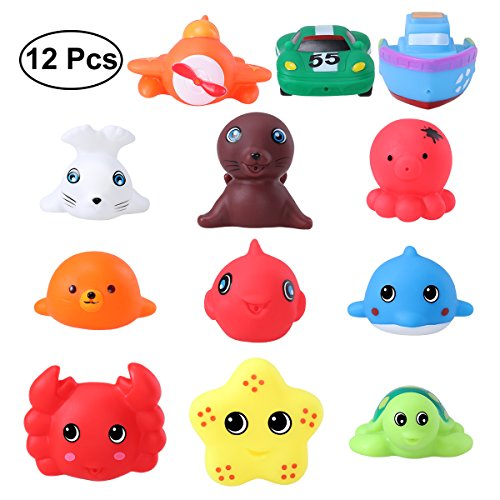 TOYMYTOY Little Squirts Fun Bath Toys Sea Animals Bath Toys Safe for Kids 12 PCS