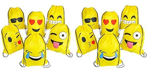 16' X 13' Emoji Emoticon Drawstring Backpacks 12 Pack, 1 Dozen
