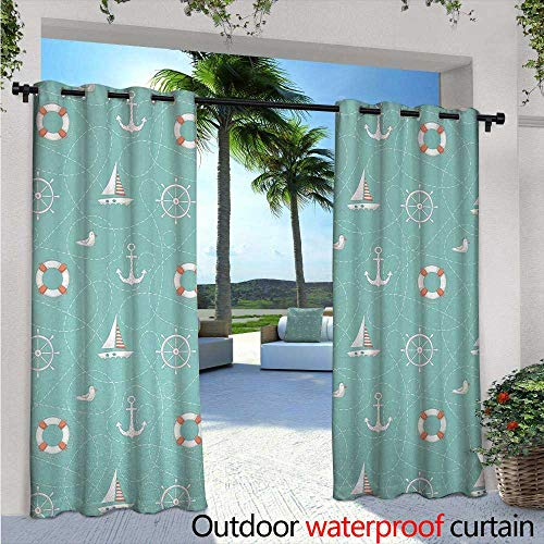 ndoor/Outdoor Single Panel Print Window Curtain W96 x L108 Nautical Arrangement with Seagull Helm and Lifebuoy Sailing Doodle Silver Grommet Top Drape Seafoam Salmon and White ()