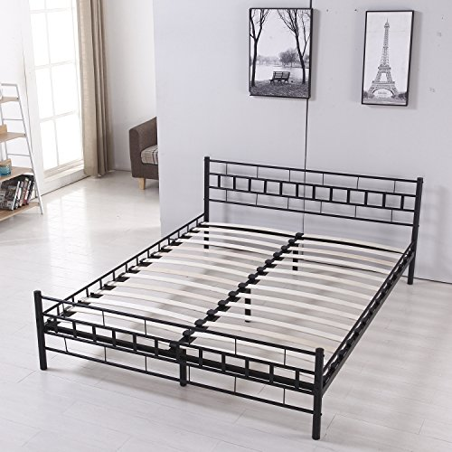 Price comparison product image Walcut Double Metal Bed Frame Two Headboard Mattress Foundation Black Platform Bed Frame