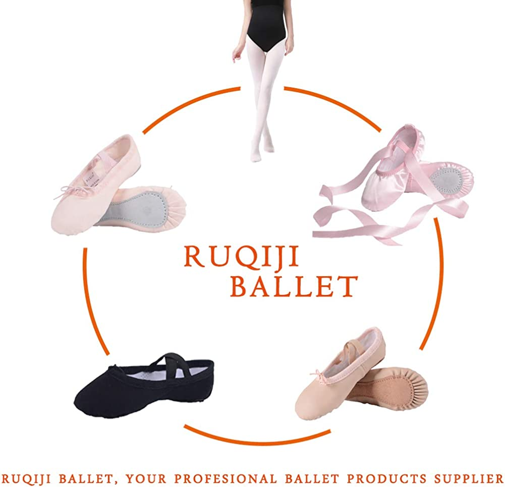 Satin Ballet Shoes with Ribbon//Full Sole Canvas Ballet Shoes//Ballet Slippers//Dance Shoes Ruqiji Ballet Shoes for Girls//Toddlers//Kids//Women
