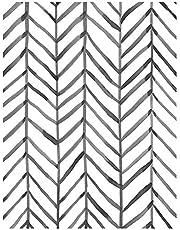 Modern Stripe Peel and Stick Wallpaper Herringbone Black White Vinyl Self Adhesive Contact Wallpaper,Waterproof Contact Paper Shelf Liner Wall Stickers,Home Decaration 17.7''x118.1''