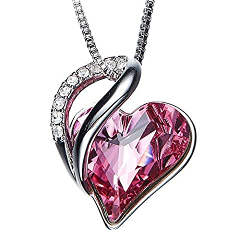 SILYHEART Forever Love Heart Pendant Necklace Fashion Swarovski Crystals Jewelry Gifts for Women Girls Girlfriend Wife - Swarovski Engraved Necklace