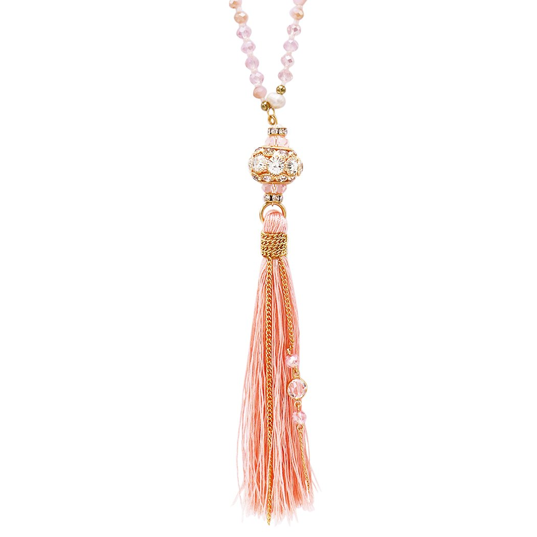 Rosemarie Collections Women's Elegant Glass Bead and Tassel Necklace (Light Pink)