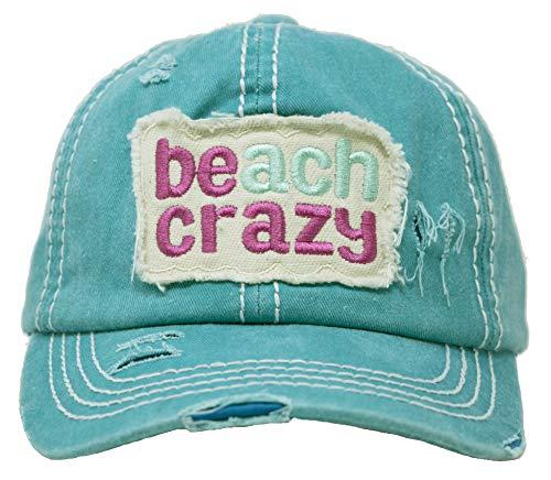 Beach Mens Visor - BH-203-BC46 Distressed Patch Baseball Cap - Beach Crazy - Turquoise