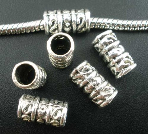 (PEPPERLONELY Brand 50PC Antiqued Silver Tube Spacer Beads Large Hole Fit European Bracelet 11x6mm)