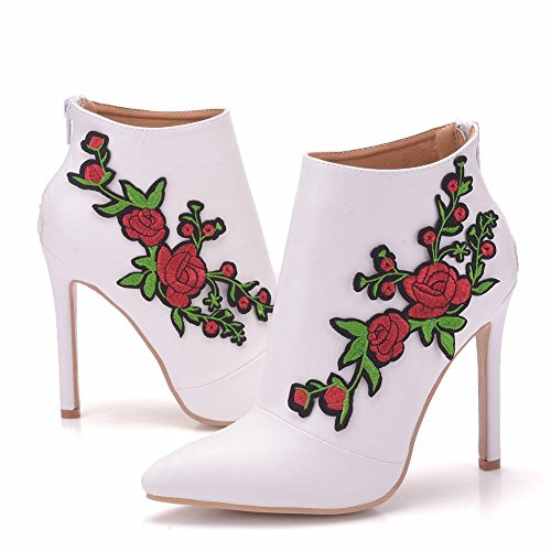 NVXIE Women's Ladies Ankle Boots White Wedding Bridal Shoes Lace Applique Dress Party Pointed High Heel Evening Spring Autumn Size 35-41 WHITE-EUR37UK455 DrgO1zfmY