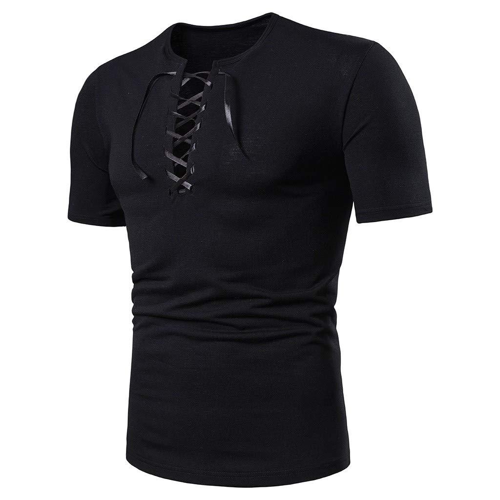 WYTong Mens T-Shirt v Neck Strap Short Sleeve Top Loose-Fit Short Sleeve Pullover Summer Fashion