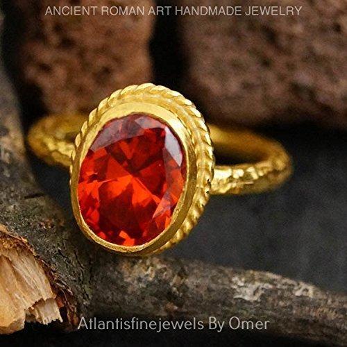 - STERLING SILVER ORANGE GARNET ROMAN ART SOLITARE RING 24K GOLD VERMEIL HANDMADE JEWELRY BY OMER