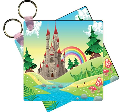 Castle Design Keychain - Rikki Knight Panorama With Castle Design Square Shaped Key Chains - Identifier Tags (Set of 6)