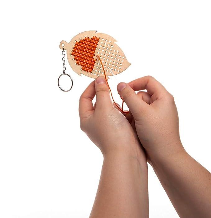 Amazon.com: Baker Ross Leaf Wooden Cross Stitch Keyring Kits ...