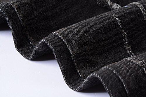 YTD Men's Black Jeans Ripped Distressed Slit Denim Slim Stretch Motor Pants (US 28, Black)
