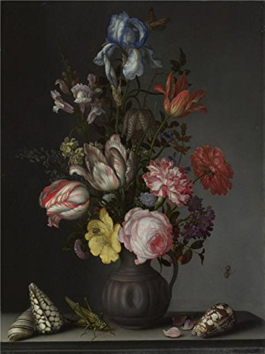 (Oil Painting 'Balthasar Van Der Ast - Flowers In A Vase With Shells And Insects,about 1630' Printing On High Quality Polyster Canvas , 18x24 Inch / 46x61 Cm ,the Best Hallway Artwork And Home Decor And Gifts Is This High Quality Art Decorative Prints On Canvas)